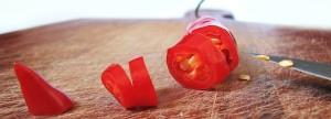 Pimenta vermelha cortada