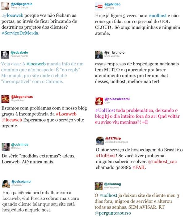 Print screens de publicações no Twitter relacionadas a #locaweb e #uolhost