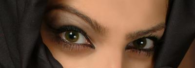 olhos de uma mulher misteriosa
