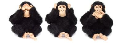 3 macacos de pelúcia