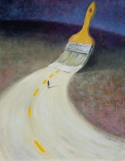 Pincel pintando uma nova estrada para uma pessoa