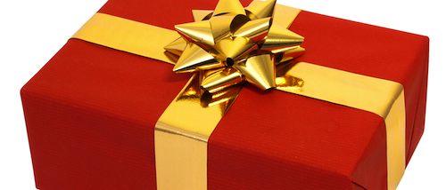 Presente embrulhado em caixa vermelha