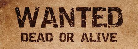 Placa de procura: vivo ou morto