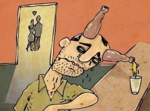 homem chifrudo bebendo em um bar